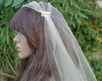 """Shimmering Sheer Tulle Bridal Veil, Tulle Bridal Cap Veil, 90"""" Tulle Bridal Veil by VegasVeils"""