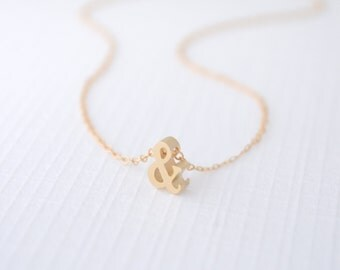 Little Gold Ampersand Necklace, And Necklace, Ampersand Symbol Necklace, Love Necklace, Hope Necklace, 14k Gold Filled Chain, Olive Yew-1221