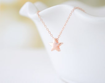 Tiny Rose Gold Star Necklace - little star necklace - rose gold filled necklace - 1124