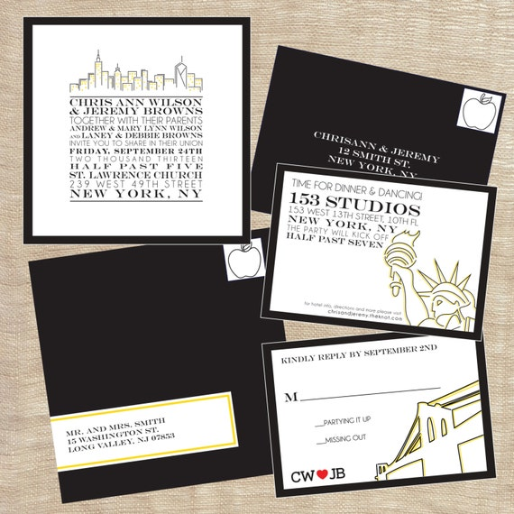 wedding invitations nyc cityscape skyline nyc new york city themed wedding suite 9761