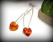 Stunning Red Coral Heart Swarovski Crystal Earrings - Valentine, Heart, Love