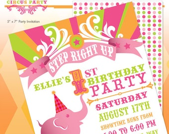 Pink Circus Elephant Printable Birthday Party Invitation - Hot Pink - Vintage Carnival - Made to Order