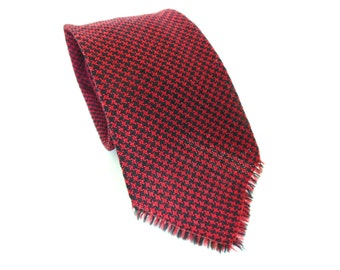 Vintage Necktie Mens Dark Red and Black Check Wool Woven 1950's  (item 6)