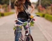 Petal Brite pink daisy bike basket garland