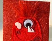 Glitter Blank Monster greeting card SMUG MONSTER in Red Sparkle felt applique single card
