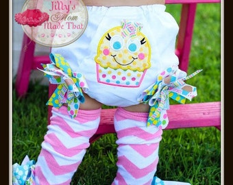 Cupcake Baby bloomers - 1st Birthday Diaper Cover, 2nd Birthday Diaper Cover, Cupcake Diaper Cover