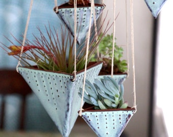 Geometric Hanging Planter - Triangle Pot with Dots Design - Medium Size - Modern Home Decor - Aqua Mist - MADE TO ORDER
