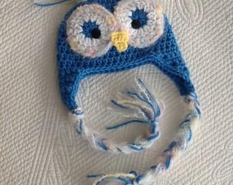 Newborn Owl Hat, Child Animal Hat, Owl Hat, Crochet Baby Hat, Blue Owl Hat, Baby Hat, Newborn Hat, Winter Hat
