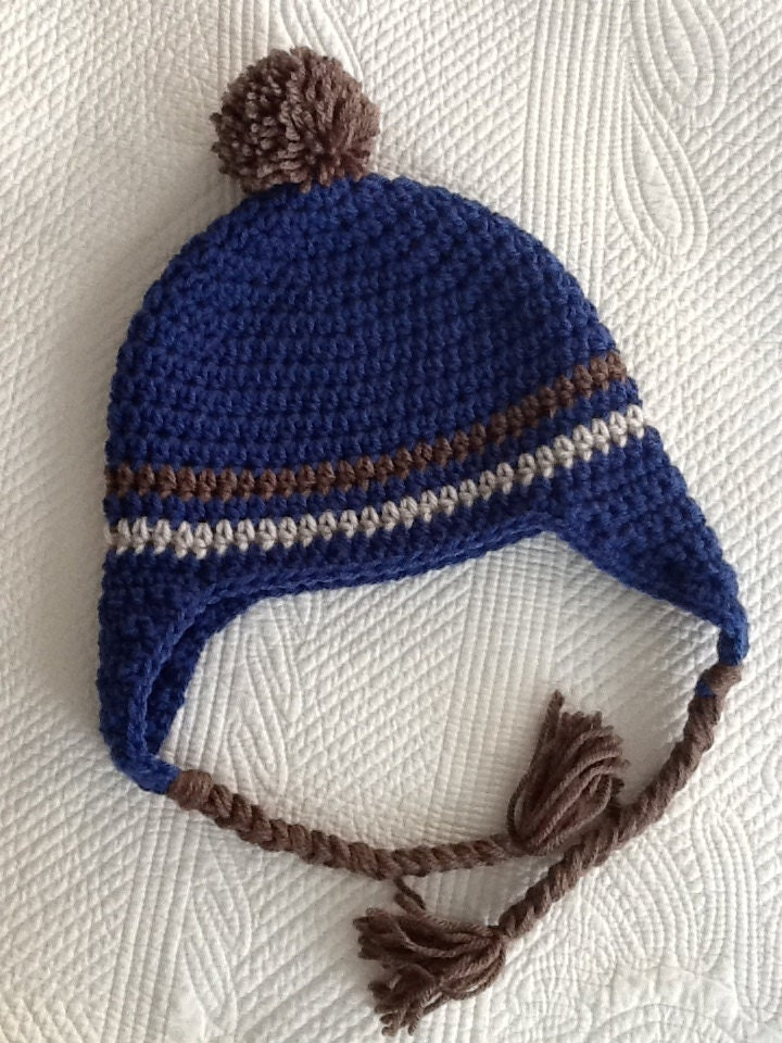 Crochet Hat With Earflaps Blue And Brown Hat Crochet Hat