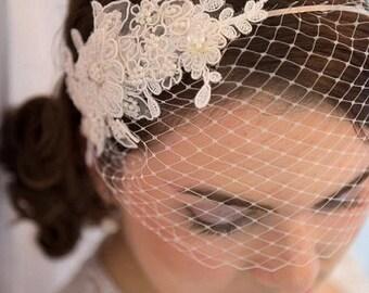 Ivory Veil  Lace Pearl Crystal Headband Birdcage Bridal Headpiece Wedding Accessories