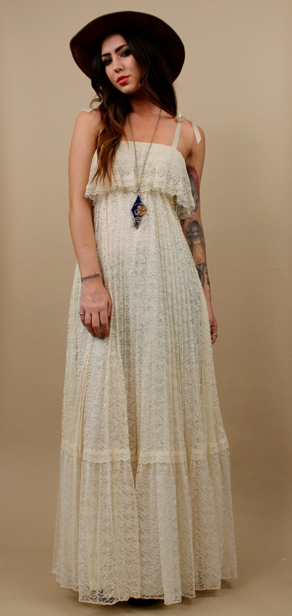 70s Vtg Lace Cream Maxi Dress Delicate Boho Flowing By