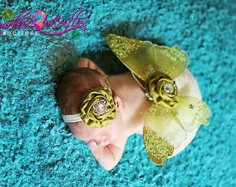 SALE Olive Green Newborn Butterfly Wing Set and Matching Headband, Photo Prop, Glitter Butterfly Wings, Newborn Baby Wings - Newborn Prop