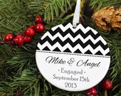 Chevron Engagement Ornament - Recently Engaged - Wedding Gift - Personalized Porcelain Holiday Ornament - orn7 - Peachwik -  Custom Colors
