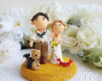 Custom Cake Topper- Beach Wedding with a Yorky