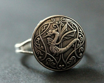 Celtic Dragon Ring. Celtic Knot Button Ring. Silver Button Ring. Adjustable Ring. Handmade Jewelry.