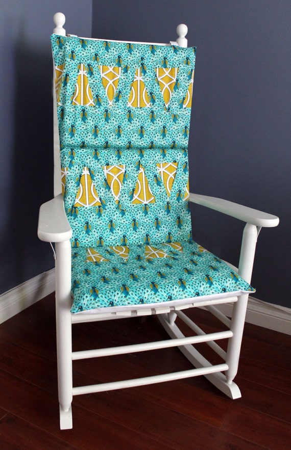 on sale rocking chair cushion peacock blue patchwork. Black Bedroom Furniture Sets. Home Design Ideas
