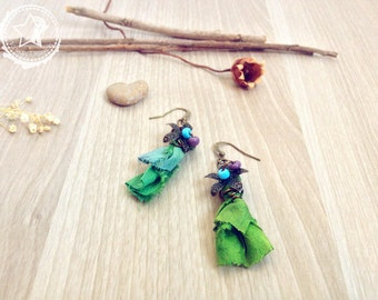 Boho earrings Flowers & India Sari Silk earrings, flowers earrings, green earrings, whimsical earrings, nature earrings whimsy earrings love
