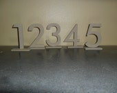 """Wooden Table number 4.5"""" Futura set 1-25 with 1/4"""" Rectangle Base MDF / WOOD / Wedding / large Event"""