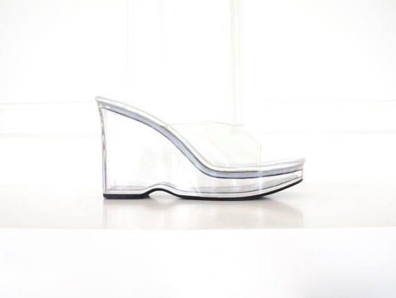 90s clear acrylic platform wedge sandals transparent