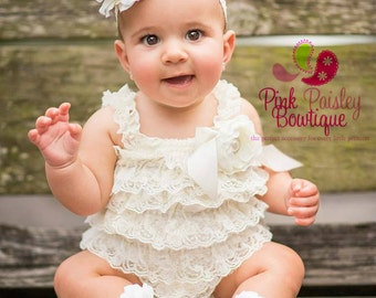 Baptism Outfit - 4pc  SET- Ivory Petti Romper- Baby Girl Rompers - Christening Dress- Lace Romper - Cream Baptism Dress - Lace Baby Romper