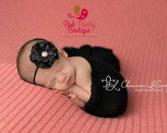 Black Baby Headband - Black Hair Accessories - Black Baby Hairbows - Newborn Photo Prop - Baby Girl headbands - Toddler Headbands