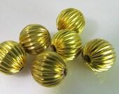 16 Vintage 8mm Round Corrugated Brass Melon Beads Bd1009