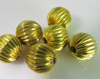 16 Vintage 8mm Round Corrugated Brass Melon Beads Bd1009