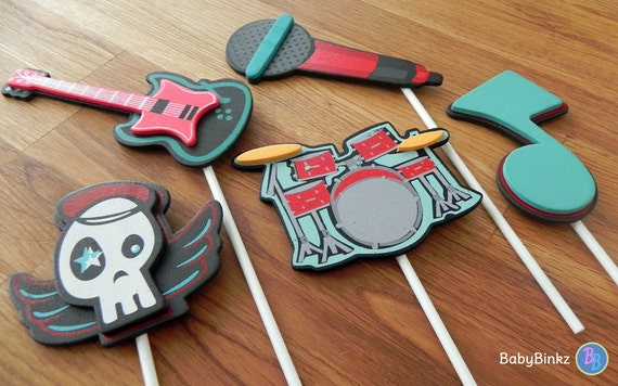 Cake Decorations Musical Instruments : Rock & Roll Shape Cake Toppers or Party Decorations guitar