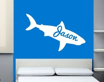 Shark Decal | Name Decal | Vinyl Wall Decal | Nursery Decal | Kids Room Decor | Beach Decal | Teen Room Decor | Surfing Decor |  22325