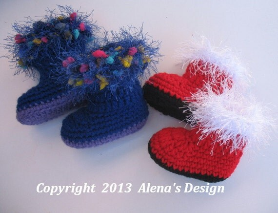 Crochet Baby Santa Booties Pattern : Crochet Pattern 090 Baby Santa Booties 0-3 3-6 by AlenasDesign