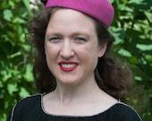 Brigette Beret Hat in Raspberry Fur Felt Velour with Black Grosgrain Bow