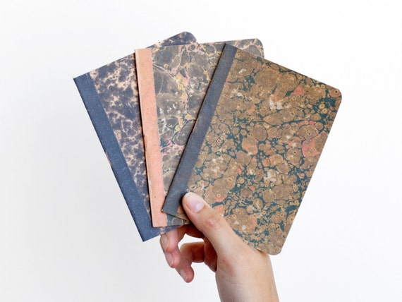 Lot of 3 notebooks - marbled paper - MAR6003L3