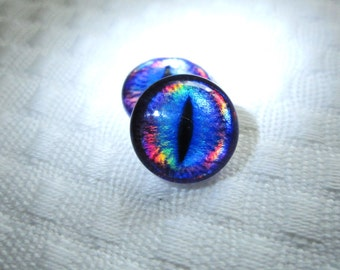 Dragon glass eyes 14mm metallic shimmer cabochons
