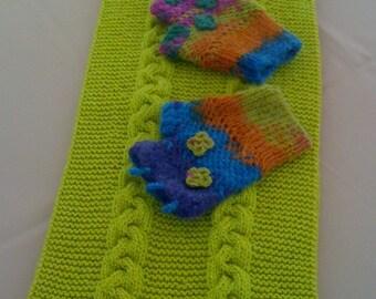 Neck warmer - Fingerles Gloves Set - Ready for Shipping