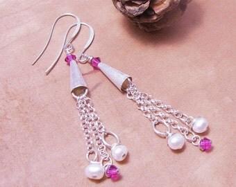 Long Silver Cascade Earrings