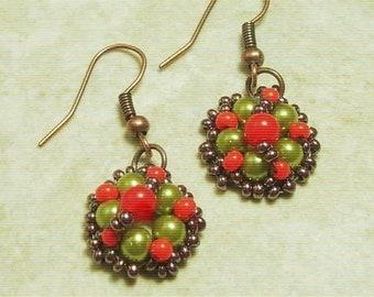 Small Beadwoven Earrings-Handmade Artisan Beadwork -  Beadweaving - Beadwoven Jewelry