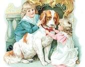 1 1/2 FabricButton Children Boy Girl Victorian Puppy Dog Mint Winter Love