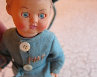 Vintage Fiat Car Advertising Mechanic Doll with sleepy eyes