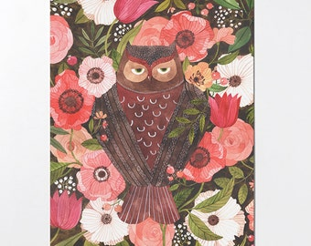 Sleepy Owl - 18x24 poster