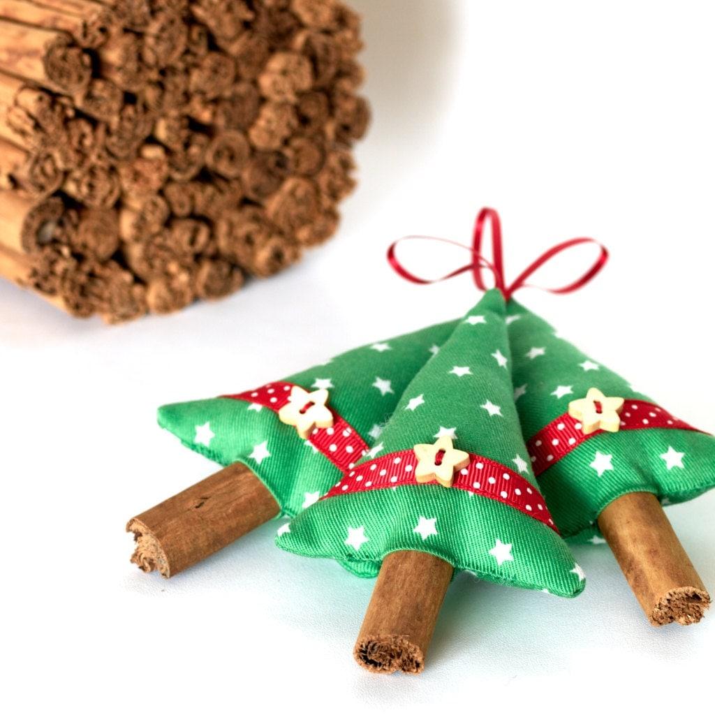 Handmade Christmas Decorations Cinnamon Christmas Trees Green