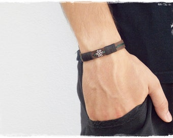 Elven Infinity Knot Bracelet, Irish Leather Bracelet, Celtic Knot Leather Bracelet For Him, Gaelic Bracelet, Leather Jewelry, Nordic Cuff