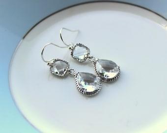 Silver Clear Earrings Crystal - Two Tier Teardrop Earrings - Bridesmaid Earrings - Bridal Earrings - Bridesmaid Jewelry - Wedding Earrings