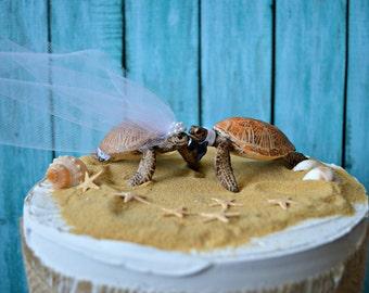 Sea turtle-bride-groom-Mr and Mrs-wedding-cake topper-beach-destination-turtle-ocean-turtle lover-starfish-grooms cake-woodland-animal-