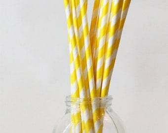 Yellow Straws Yellow White Paper Straws Yellow Party Supplies Yellow Themed Party Yellow Drinking Straws Gender Neutral Shower / Set of 20