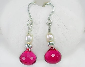 Red Violet Quartz &  Sterling Silver Earrings, Freshwater Pearls, BCA Jewelry, 50% donation, Breast Cancer Survivor, Survivor Jewelry