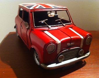 Mini Cooper Car - Red Tin Metal Toy Automobile with the Union Jack Flag on the Roof