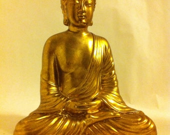 Gold Sitting Buddha - Asian Oriental Zen Sculpture - Spiritual Religious Ornament