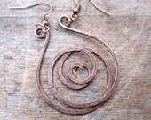 Distressed Copper Spiral Earrings, Rustic Girl, Handmade Jewelry, Spirals