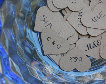 Wedding Confetti Hearts for Favors and Table Settings Customized with Initials in 1 inch 500