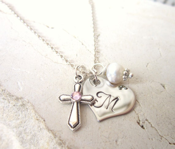 Baptism Gift Children S Birthstone Cross Necklace